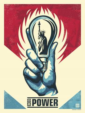 Hand holding lightbulb with statue of liberty inside